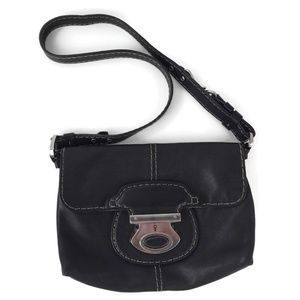 TOD'S Black Leather Shoulder Bag Small Purse Italy